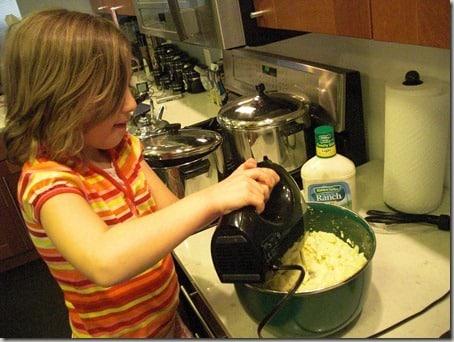 My daughter mixing
