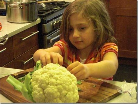 My daughter prepping cauliflower