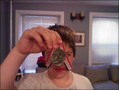 Jake and his medal