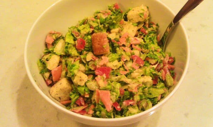 Chopped salad in a small bowl.