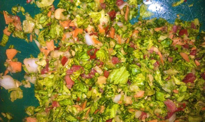 Salad chopped into small pieces.