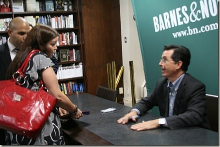 Stephen Colbert signing my book