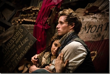 "Éponine (SAMANTHA BARKS) seeks comfort from Marius (EDDIE REDMAYNE) in ""Les Misérables"", the motion-picture adaptation of the beloved global stage sensation seen by more than 60 million people in 42 countries and in 21 languages around the globe and still breaking box-office records everywhere in its 28th year."