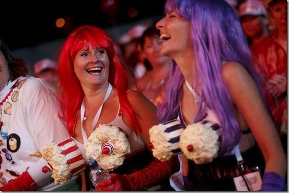MoonWalk participants in their bras