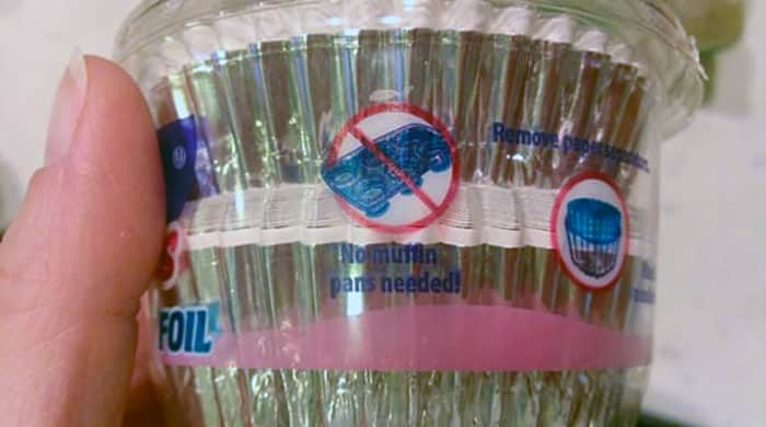 """Foil cupcake liner instructions: """"No muffin pan needed!"""""""