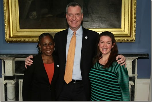 Amy with Chirlane and Bill de Blasio at City Hall