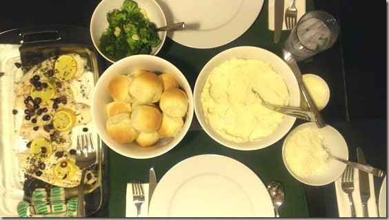 Baked sole from Homemade with Love, rolls, mashed potatoes, broccoli