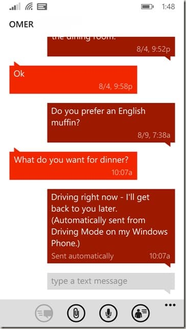 Driving Mode Text with Omer