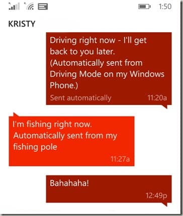 Driving Mode text with Kristy