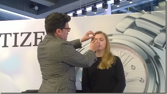 Citizen Watch Times Square event - Christian Zamora make-up application