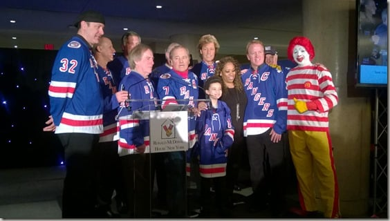 Skate with the Greats 2015 - NY Ranger greats giving Antoinette Coleman a jersey