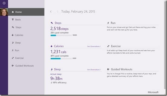 Microsoft Band dashboard screenshot