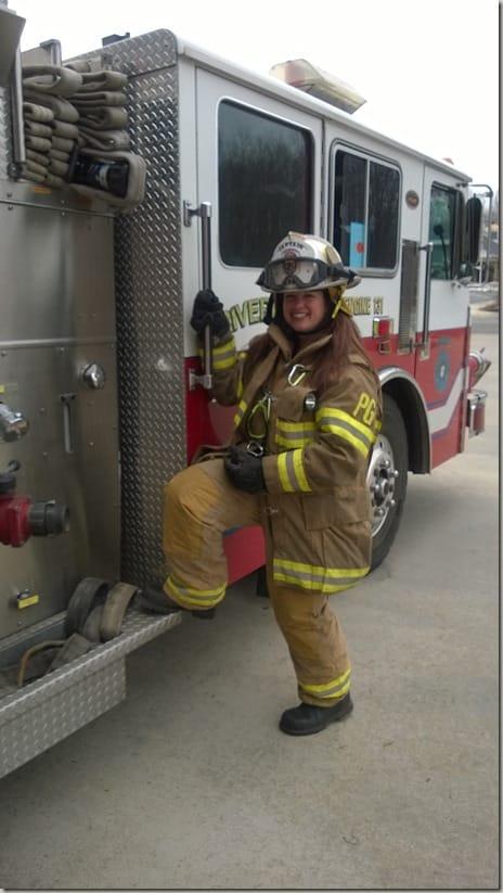 SelfishMom in firefighter gear
