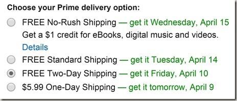 Amazon Prime's No-Rush Shipping credit