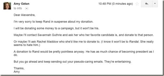 My email response to Rand Paul SelfishMom