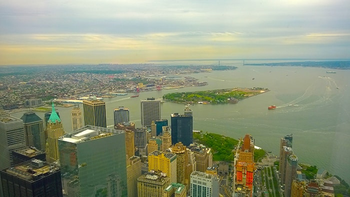 One World Observatory - view of lower Manhattan and Governors Island