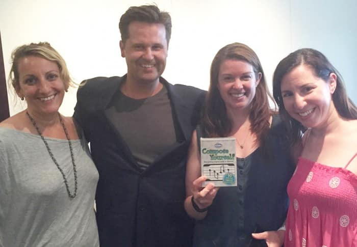 Nancy Friedman, Philip Sheppard, Amy Oztan, and Rebecca Levey with new game Compose Yourself
