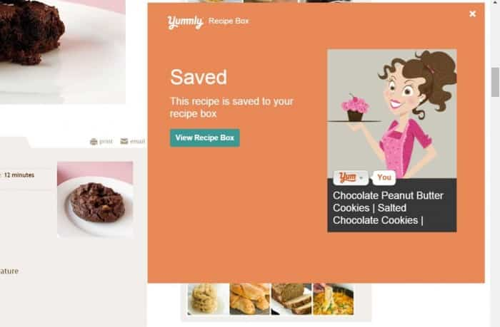 "Yummly ""Saved' recipe box pop-up."
