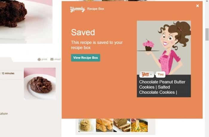 """Yummly """"Saved' recipe box pop-up."""