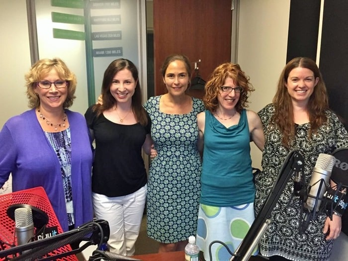 l-r: Andrea Smith, Rebecca Levey, Elisa Zuritsky, Julie Rottenberg, Amy Oztan in the Parenting Bytes studio