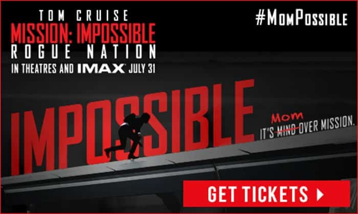Mission: Impossible -- Rogue Nation is in theaters on July 31st, and you should definitely go see it. My son and I loved this movie so much! It was exciting, it was suspenseful, and the script was really good too!