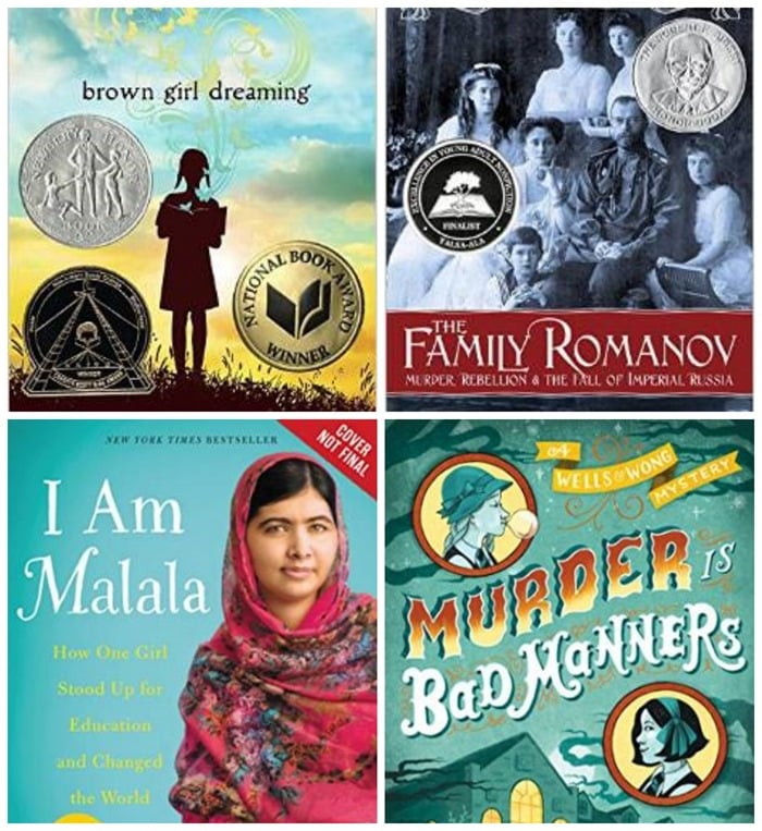 Four your adult books for midde schoolers to read over the summer: Brown Girl Dreaming, The Family Romanov, I Am Malala, and Murder is Bad Manners.