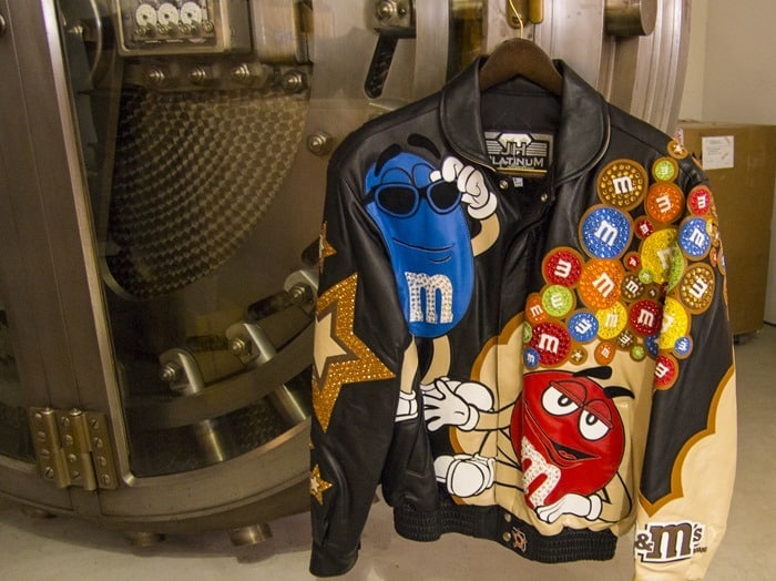 M&M's World Pop-Up Store NYC SoHo Swarovski crystal and leather M&M's jacket