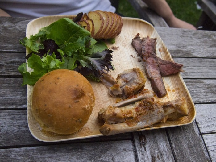 BBQ and other foods on a VerTerra dinner plate