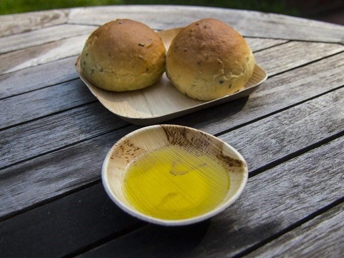 Rolls on VerTerra plate and olive oil in VerTerra bowl & behance