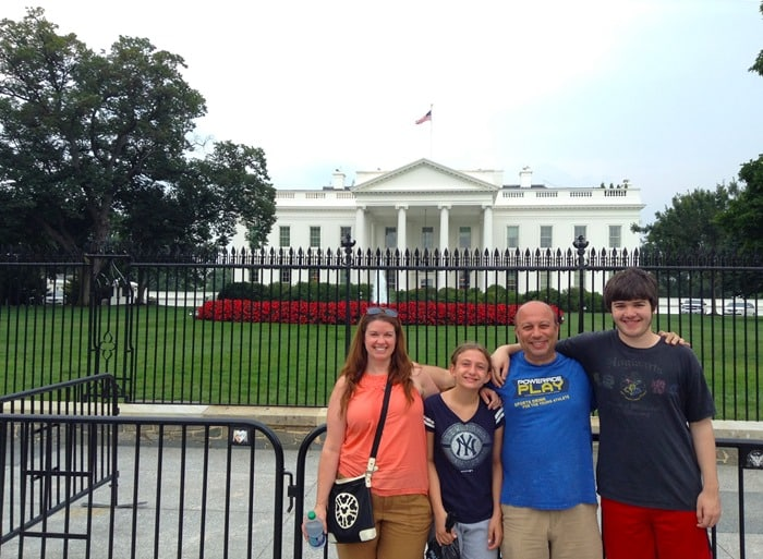 Amy, Fiona, Omer, and Jake in front of the White House in Washington D.C.