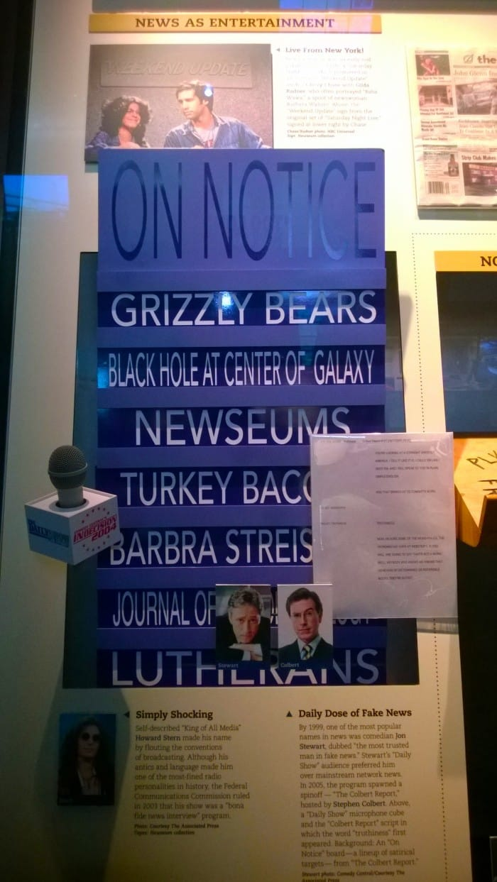 """Stephen Colbert's """"On Notice"""" board at the Newseum in Washington D.C."""