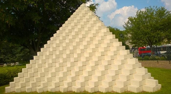 Q*bert in sculpture garden in Washington D.C.