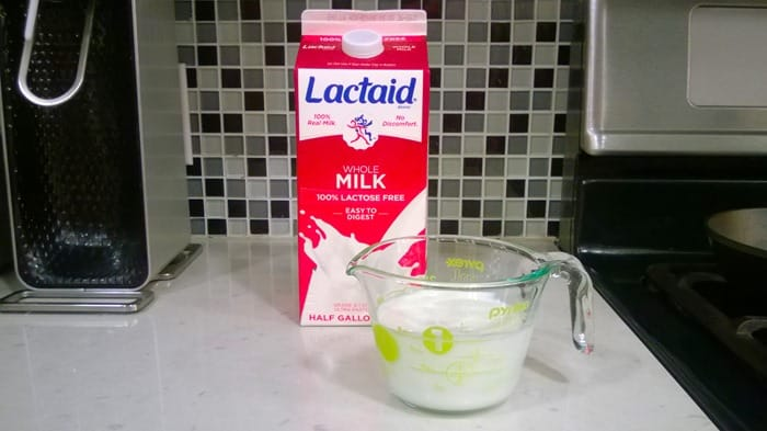 baking with Lactaid - Lactaid milk with Pyrex measuring cup
