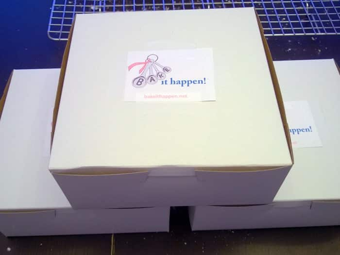 Bake It Happen - bakery boxes with logo