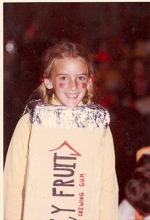 Nancy Friedman in a homemade Juicy Fruit Halloween costume