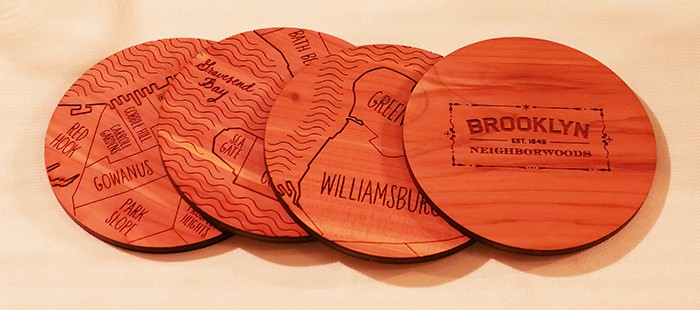 wooden coasters with Brooklyn neighborhoods from uncommongoods