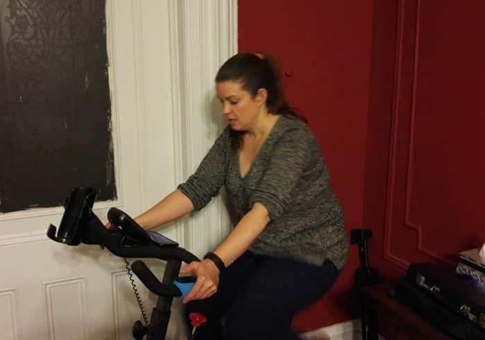 Goji Play 2 Amy on exercise bike