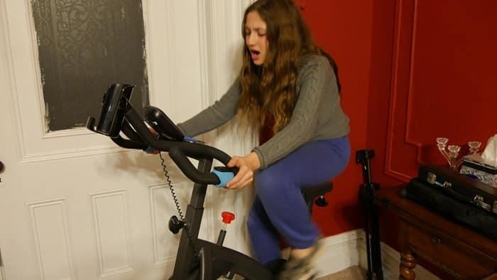 Goji Play 2 Fiona on exercise bike