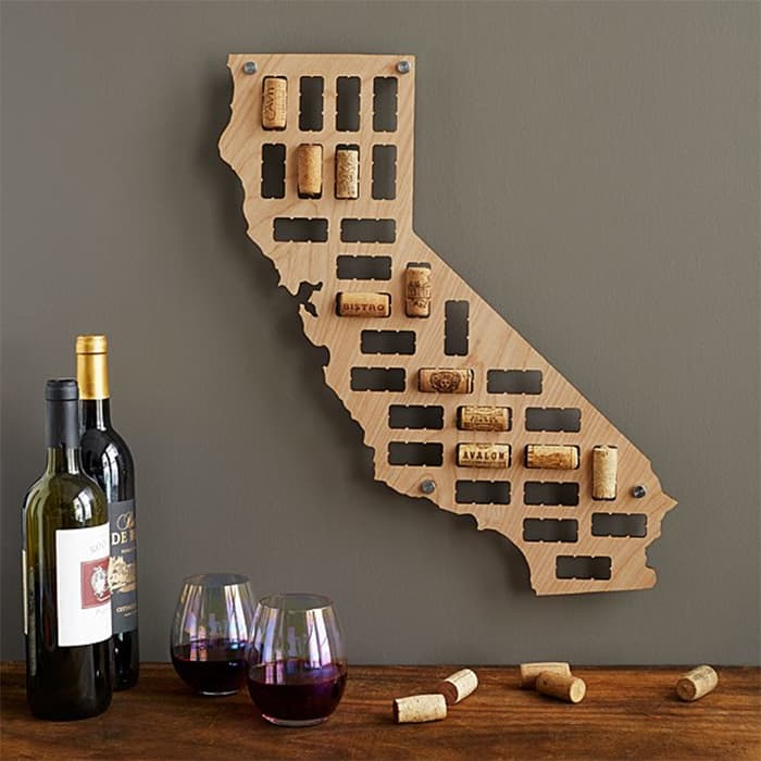 wine cork state map of California from uncommongoods