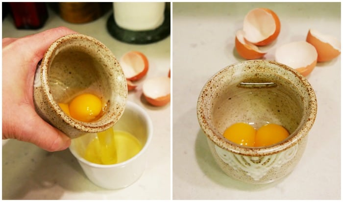 stoneware egg separator from uncommongoods with pouring in the left picture and separated yolks in the right picture