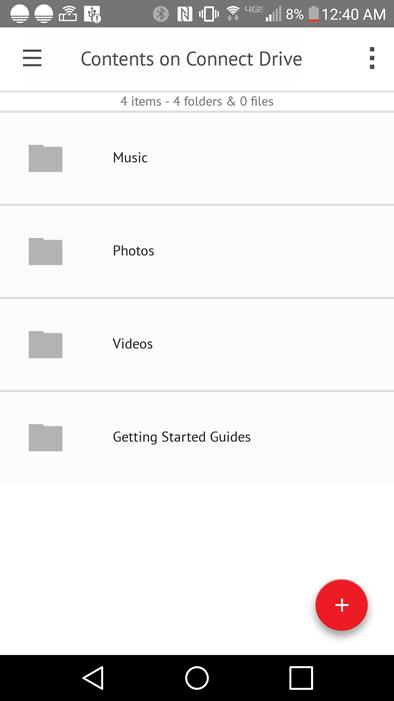 SanDisk Connect Drive Screenshot Contents