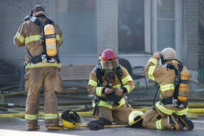 Firefighters in gear.