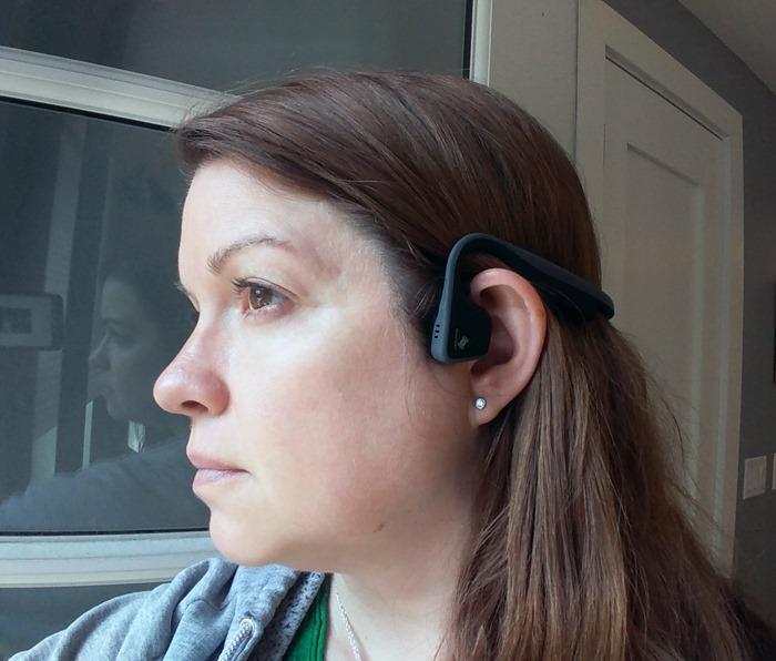 Trekz Titanium headphones by AfterShokz on my head