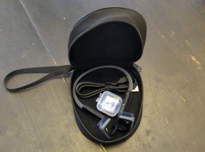Trekz Titanium headphones with accessories and case