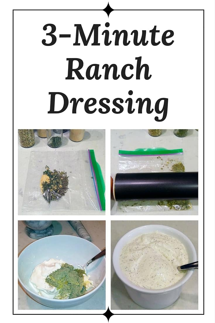 Some recipes say they're ready in minutes, but then you find out that they have to sit for half an hour. Or that it takes three minutes *after* you do a bunch of prep. Well, not this recipe! This delicious, easy homemade ranch dressing really can be ready in literally 3 minutes! #recipe #easy #ranch #ranchdressing