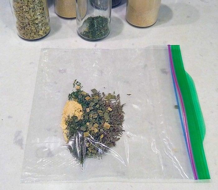 3-Minute Ranch Dressing herbs in baggie