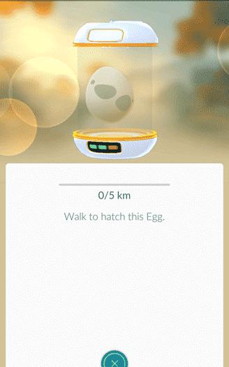 Pokemon Go - an egg inside an incubator