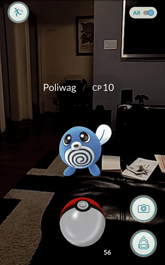 Pokemon Go - a poliwag in my living room