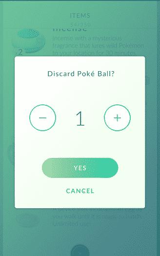 Pokemon Go - discard pokeball