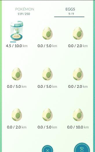 Pokemon Go - eggs